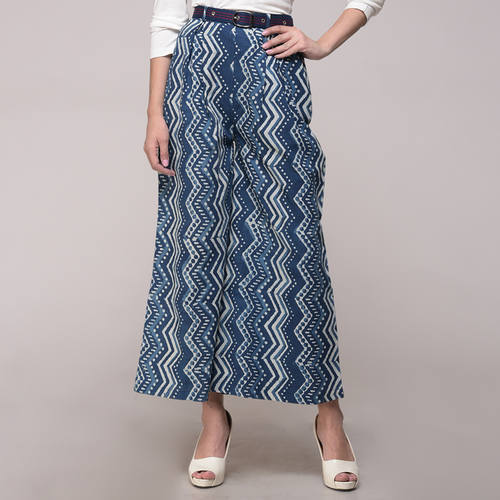 Dabu Printed Chevron Palazzo With Belt