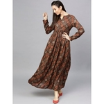 Brown Printed Pleated Maxi