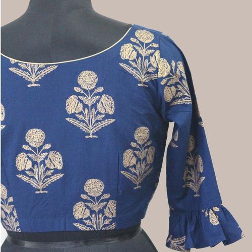 Blue Gold Mughal Print Saree Blouse