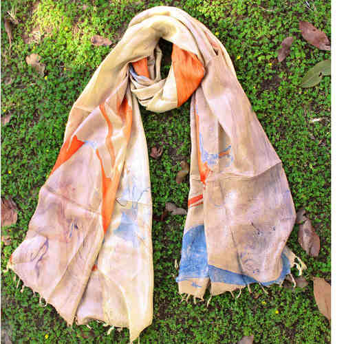 Banana Silk Beige Orange Stole Dupatta
