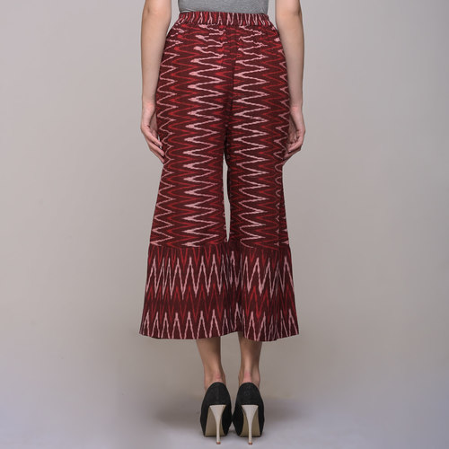 Red Chevron Cotton Ikat Palazzo Pants