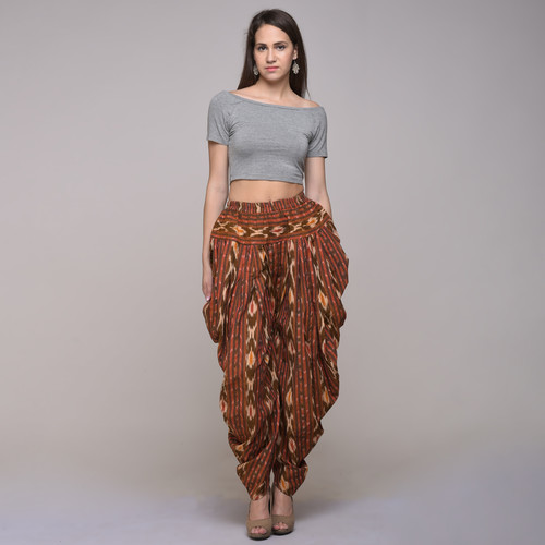 Cotton Ikat Pleated Patiyala Pant