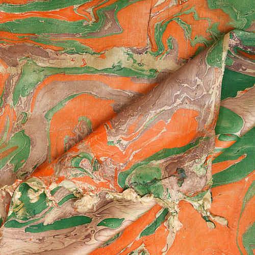 Marble print Banana Silk Beige Orange Stole Dupatta