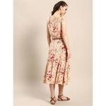 Peach Floral Printed tie up shoulder Skater Dress