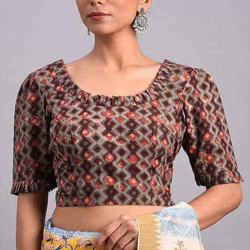 Grey-Brown Dabu Cotton Blouse