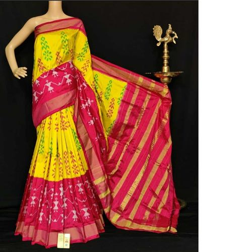 Yellow Hnadloom Silk Saree by  B. Anjan Dasu