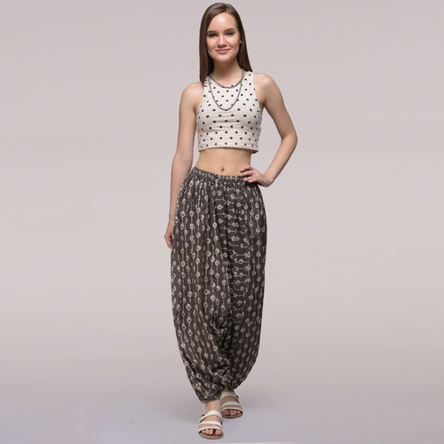 Grey Elasticated Waist Dabu-printed Harem Cotton Pants