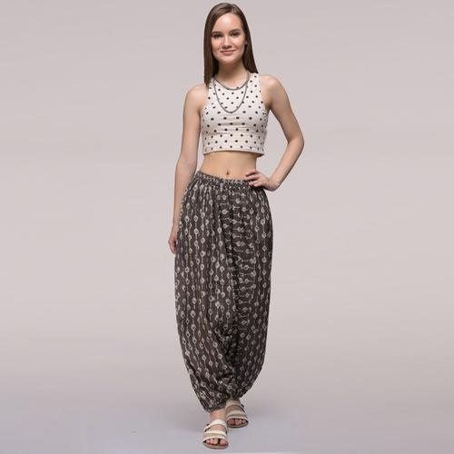 Grey Elasticated Waist Dabu-printed Harem Cotton Pants