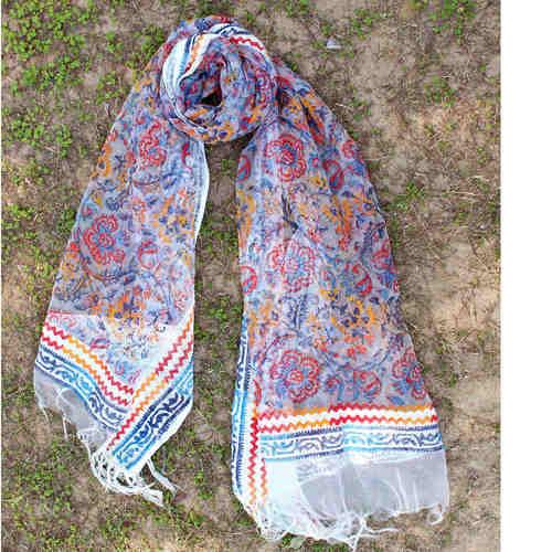 Block Printed Handloom Silk Organza DupattaStole