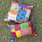 Vintage Silk Kantha Embroidered Cushion cover Set Of 2