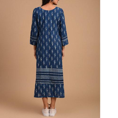 Indigo Dabu Cotton Printed Dress
