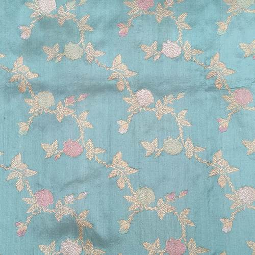 Pastel Blue Silk Benarsi Saree by Destitute Lok Kalyan Silk Bunkar