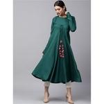Green Solid Flared Anarkali With churidar Sleeve