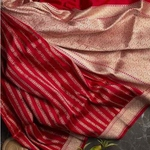 Banarasi Blended Silk Vertical Lines Red Saree