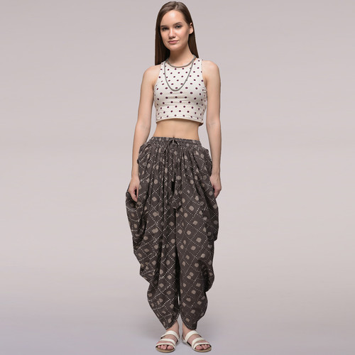 Grey Elasticated Waist Dabu-printed Cotton Dhoti Pants