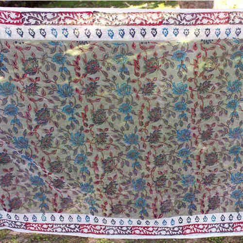 Blue Floral Block Printed Handloom Silk Organza Stole/Dupatta