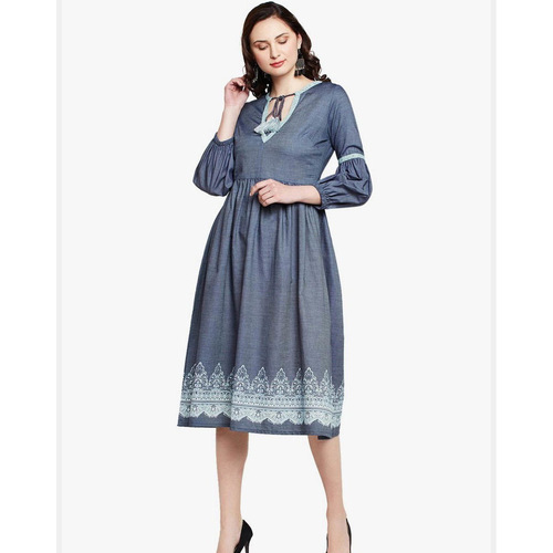 Boho Printed Denim Dress