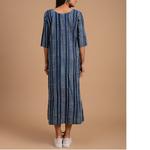 Indigo Dabu Cotton Printed Gather Dress