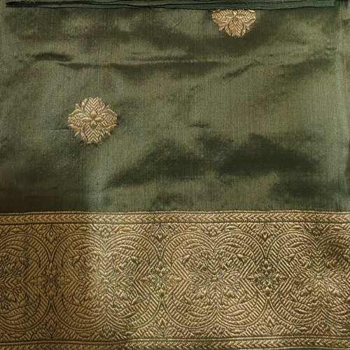 Olive Green Benarsi Silk Saree