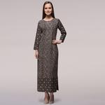 Grey Dabu-printed Cotton Patch Dress