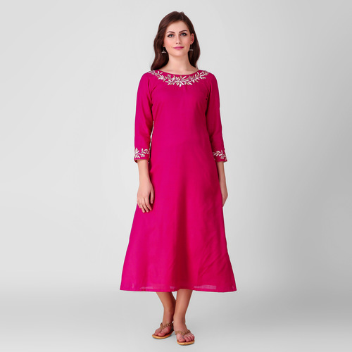 Pink Embroidered Cotton Kurta