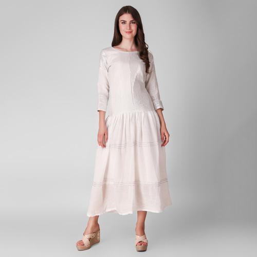 Ivory Gathered fine cotton woven metallic Dress