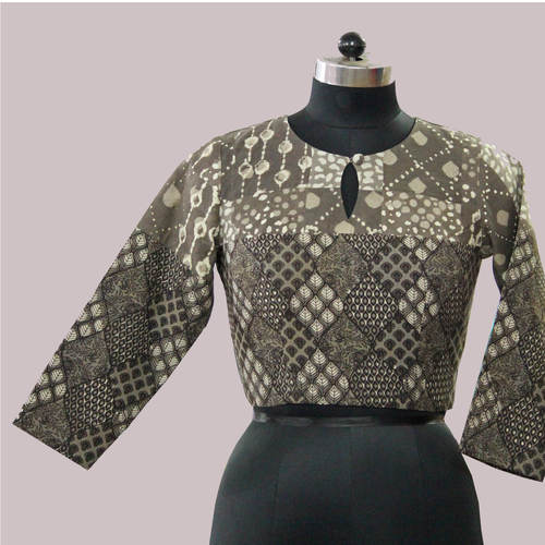 Brown Block Print Dabu Patch Work  Blouse