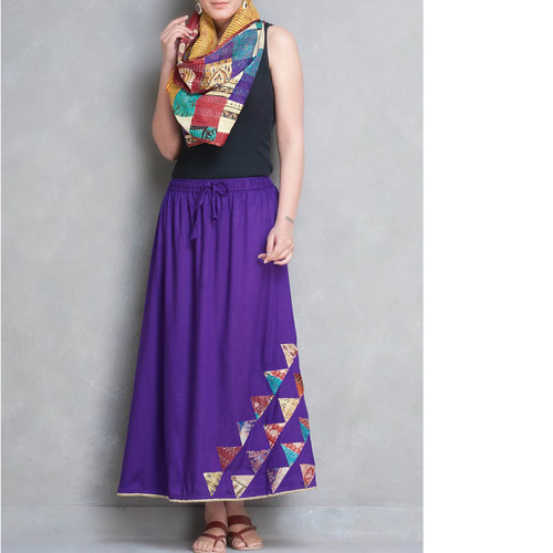 Purple Cotton Silk Kantha Patch Skirt