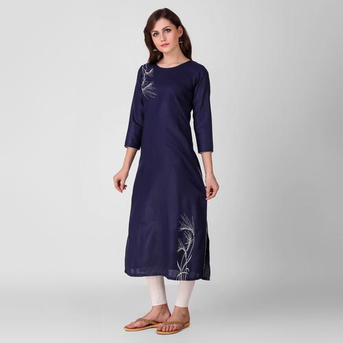 Blue Embroidered Cotton Kurta