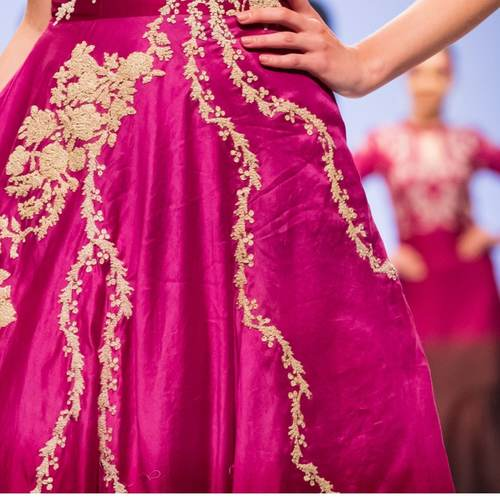 Ombre Dyed Silk Chanderi Embroidered DressGown