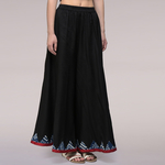 Black Cotton Silk Applique Palazzo