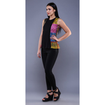 Black Kantha Pleated Top