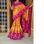 Pink Orange Handloom Silk Saree by  B. Anjan Dasu
