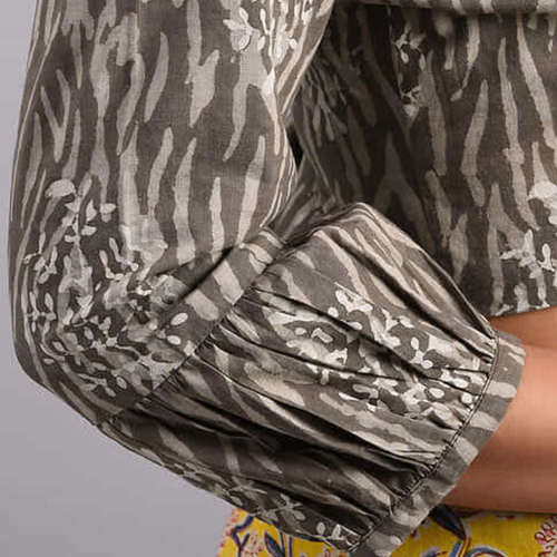 Grey Dabu Cotton Blouse