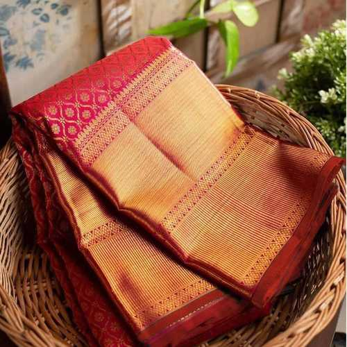 Red Kanchipuram blended silk Saree