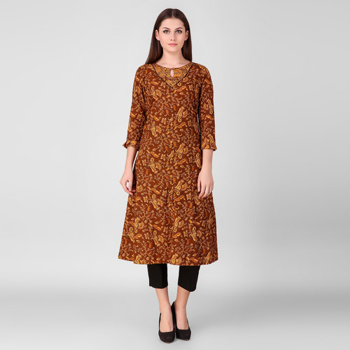 Brown Printed Cotton Yoke Kurta