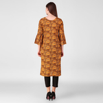 Brown Floral Print Kurta with Pleated Sleeves