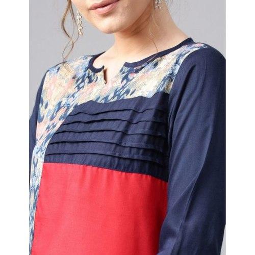 Red & Blue Printed Straight Kurta
