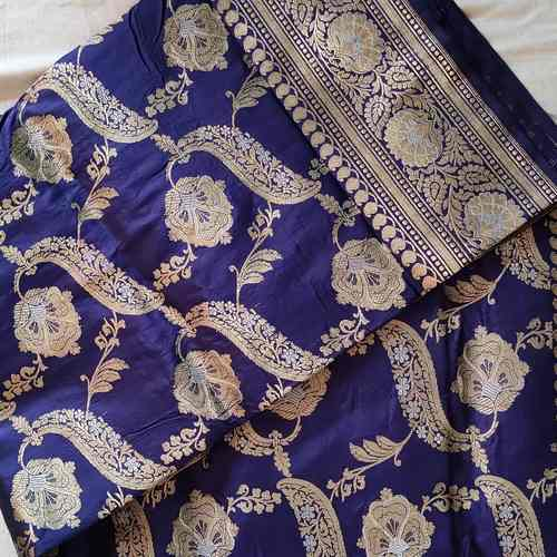 Blue Silk Benarsi Saree