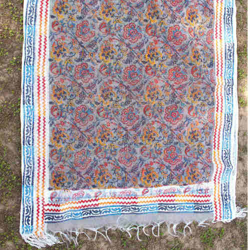 Block Printed Handloom Silk Organza Dupatta/Stole