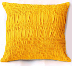 Yellow Cotton Lurex Gathered Cushion cover Set Of 2