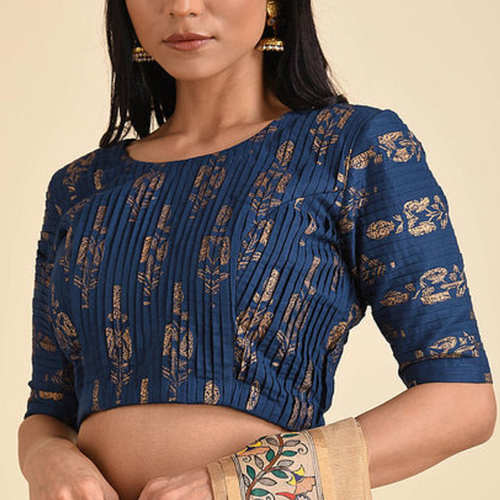 Blue Pleated Printed Blouse