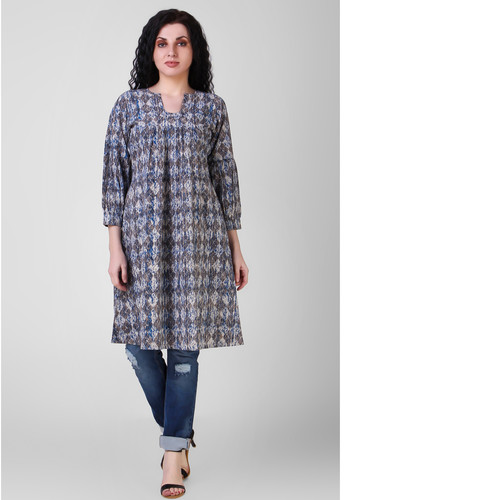 Indigo Dabu-printed Gathered Cotton Tunic