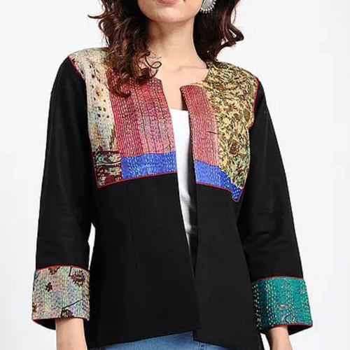 Black Kantha VintageSilk Patch Jacket