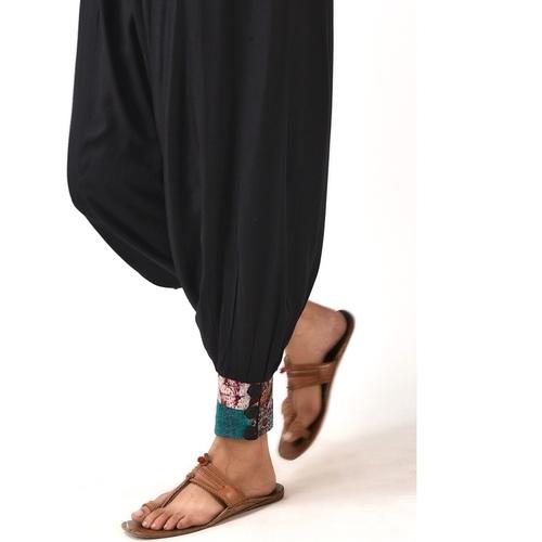 Black cotton silk Harem Pant with Silk Kantha Cuff