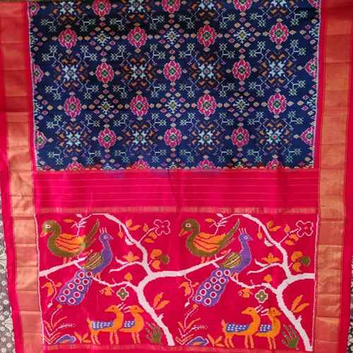 Blue Red Ikkat Patola Silk Saree by B. Kranthi Kumar