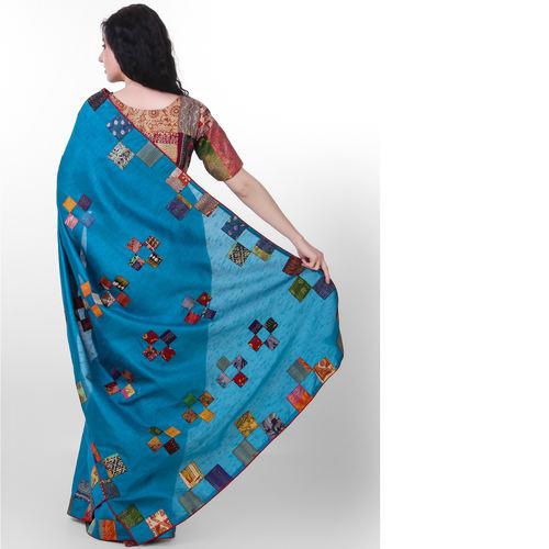 Blue Dupion Silk Kantha Applique Saree