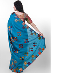 Blue Dupion Silk Kantha Applique Saree