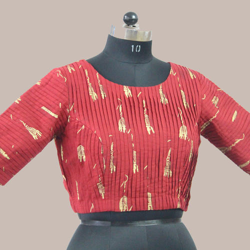 Red Gold Printed Pleated Saree Blouse