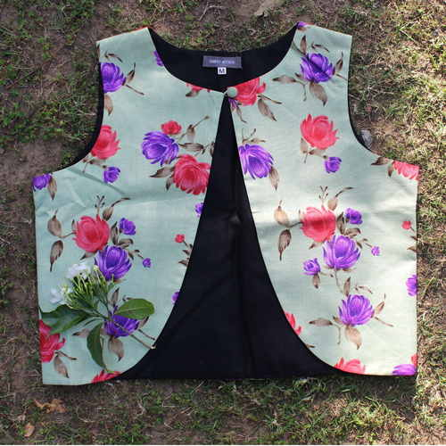 Green Floral Dupion Silk Waistcoat